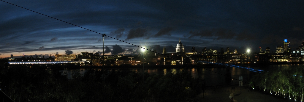 London panorama from the Tate cafe, at night | p